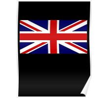 Union Jack, British Flag, UK, United Kingdom, Pure & simple 1:2 on BLACK Poster