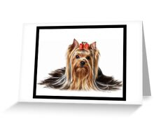 C.E. Cute Yorkie Fractal Art Greeting Card