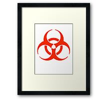 Bio hazard, symbol, Biological hazard, BIOHAZARD, in red Framed Print