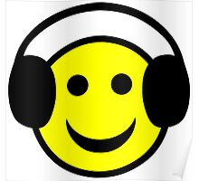 Headphone Smiley Poster