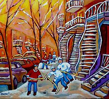 CANADIAN PAINTINGS WINTER SCENERY HOCKEY ART NEAR WINDING STAIRCASES CAROLE SPANDAU by Carole  Spandau