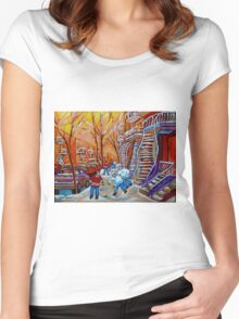 CANADIAN PAINTINGS WINTER SCENERY HOCKEY ART NEAR WINDING STAIRCASES CAROLE SPANDAU Women's Fitted Scoop T-Shirt