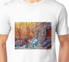CANADIAN PAINTINGS WINTER SCENERY HOCKEY ART NEAR WINDING STAIRCASES CAROLE SPANDAU Unisex T-Shirt
