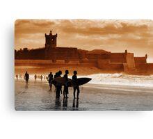 Carcavelos Surfers Canvas Print