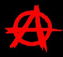 ANARCHY SYMBOL (RED ON BLACK) by JamesChetwald