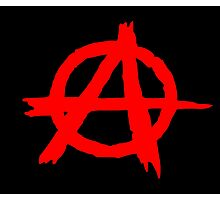 ANARCHY SYMBOL (RED ON BLACK) Photographic Print