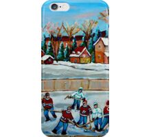 PAINTINGS OF CANADA COUNTRY HOCKEY GAME WINTER SCENE LANDSCAPES CAROLE SPANDAU iPhone Case/Skin