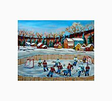 PAINTINGS OF CANADA COUNTRY HOCKEY GAME WINTER SCENE LANDSCAPES CAROLE SPANDAU Unisex T-Shirt