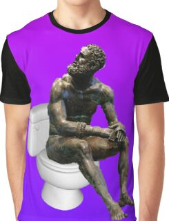 Thinker on the Crapper - Pink and Blue Version Graphic T-Shirt