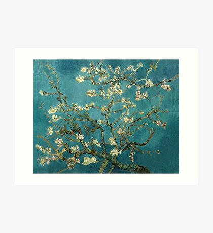 Blossoming Almond Tree, famous post  impressionism fine art oil painting by Vincent van Gogh.  Art Print