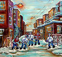ARTISTS OF CANADA CANADIAN PAINTINGS OF HOCKEY ART URBAN CITY SCENES OF MONTREAL CAROLE SPANDAU by Carole  Spandau