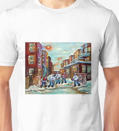 ARTISTS OF CANADA CANADIAN PAINTINGS OF HOCKEY ART URBAN CITY SCENES OF MONTREAL CAROLE SPANDAU Unisex T-Shirt