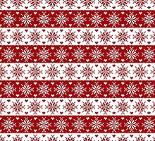 Red and White Fair Isle Snowflakes Pattern by heartlocked