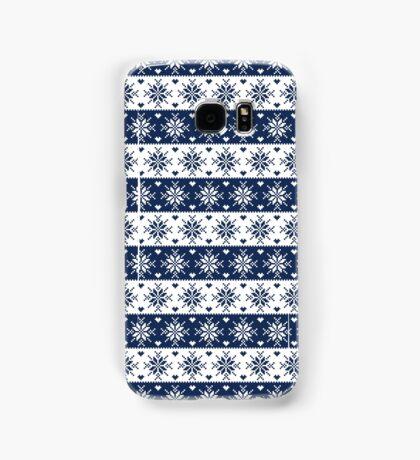 Navy Blue Snowflakes Christmas Pattern  Samsung Galaxy Case/Skin