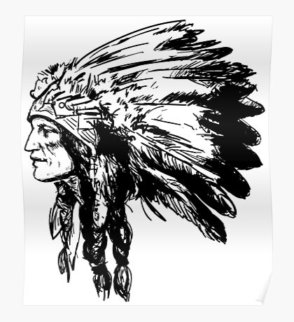 American Native Head Illustration Poster