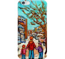 PAINTINGS OF CANADIAN WINTER SCENES URBAN CITY SCENES CAROLE SPANDAU iPhone Case/Skin