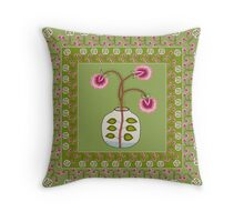 flower pot with boarder Throw Pillow