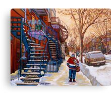 CANADIAN URBAN SCENES CANADIAN WINTER CITY ART PAINTINGS CAROLE SPANDAU Metal Print