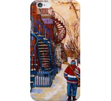 CANADIAN URBAN SCENES CANADIAN WINTER CITY ART PAINTINGS CAROLE SPANDAU iPhone Case/Skin