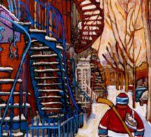 CANADIAN URBAN SCENES CANADIAN WINTER CITY ART PAINTINGS CAROLE SPANDAU Sticker