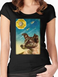 Laika the Sputnik 2 Russian Space Dog! Women's Fitted Scoop T-Shirt