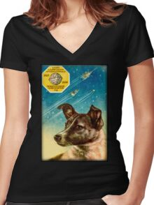 Laika the Sputnik 2 Russian Space Dog! Women's Fitted V-Neck T-Shirt