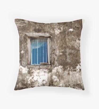 Blue window Throw Pillow