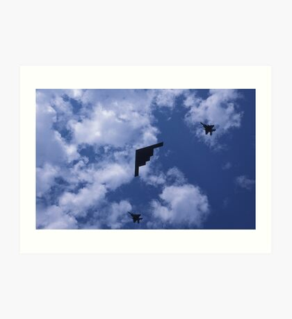 Stealth bomber with fighter escort Art Print