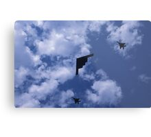 Stealth bomber with fighter escort Metal Print