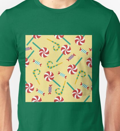 Happy Birthday Seamless Pattern with Candies for Children Party Unisex T-Shirt