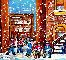CANADIAN URBAN ARTIST DEPICTS SNOWY HOCKEY SCENE IN LANEWAY CAROLE SPANDAU by Carole  Spandau