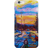 CANADIAN LANDSCAPE HOCKEY ART PAINTINGS WINTER SCENES OF CANADA CAROLE SPANDAU iPhone Case/Skin