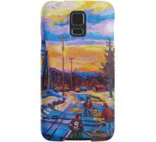 CANADIAN LANDSCAPE HOCKEY ART PAINTINGS WINTER SCENES OF CANADA CAROLE SPANDAU Samsung Galaxy Case/Skin