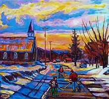 CANADIAN LANDSCAPE HOCKEY ART PAINTINGS WINTER SCENES OF CANADA CAROLE SPANDAU by Carole  Spandau