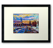 CANADIAN LANDSCAPE HOCKEY ART PAINTINGS WINTER SCENES OF CANADA CAROLE SPANDAU Framed Print