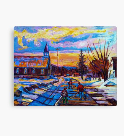 CANADIAN LANDSCAPE HOCKEY ART PAINTINGS WINTER SCENES OF CANADA CAROLE SPANDAU Canvas Print