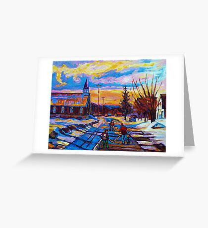 CANADIAN LANDSCAPE HOCKEY ART PAINTINGS WINTER SCENES OF CANADA CAROLE SPANDAU Greeting Card