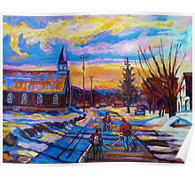 CANADIAN LANDSCAPE HOCKEY ART PAINTINGS WINTER SCENES OF CANADA CAROLE SPANDAU Poster