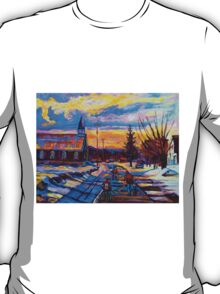 CANADIAN LANDSCAPE HOCKEY ART PAINTINGS WINTER SCENES OF CANADA CAROLE SPANDAU T-Shirt