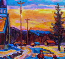 CANADIAN LANDSCAPE HOCKEY ART PAINTINGS WINTER SCENES OF CANADA CAROLE SPANDAU Sticker