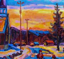 CANADIAN LANDSCAPE HOCKEY ART PAINTINGS WINTER SCENES OF CANADA CAROLE SPANDAU Sticker