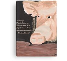 Pig Quoting Winston Churchill Canvas Print