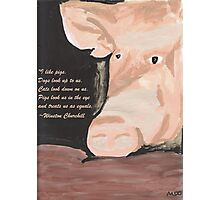 Pig Quoting Winston Churchill Photographic Print