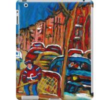 CANADIAN HOCKEY ART PAINTINGS URBAN ARTIST DEPICTS STREET SCENES CAROLE SPANDAU iPad Case/Skin