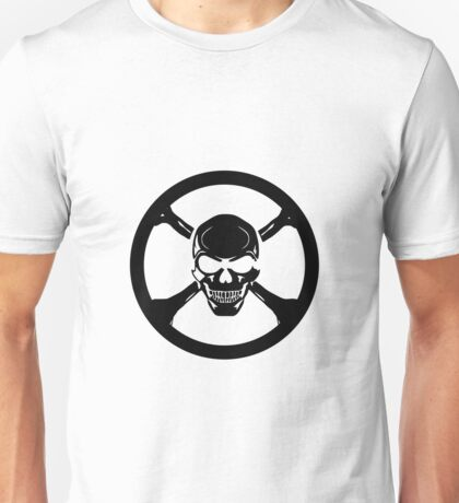 BLACK CIRCLE CHROME SKULL CROSS BONES Unisex T-Shirt