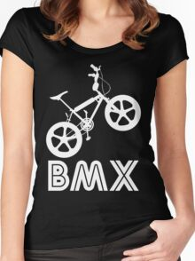BMX Silhouette (White) Women's Fitted Scoop T-Shirt