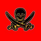 Pirate Skull and Swords black white The MUSEUM Red Bubble Gifts by TheMUSEUM