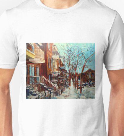 CANADIAN WINTER URBAN SCENE PAINTING CAROLE SPANDAU Unisex T-Shirt