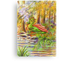 Fantasy art, Young dragon at rest in forest Canvas Print