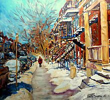CANADIAN STREET SCENES OF MONTREAL WINTER CAROLE SPANDAU by Carole  Spandau
